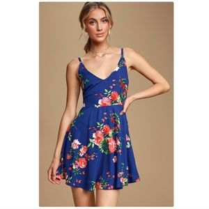 Lulu's bridge to love blue floral skater dress